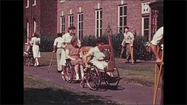 1950s: Woman sits at desk, writes on paper. Nurses help people with disabilities move around outside. Man visits patient in hospital bed.