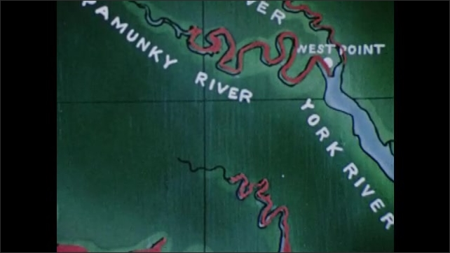 1950s: Illustrated map of Chesapeake Bay and inland rivers. Men ready small boats on shore of Pamunkey River.