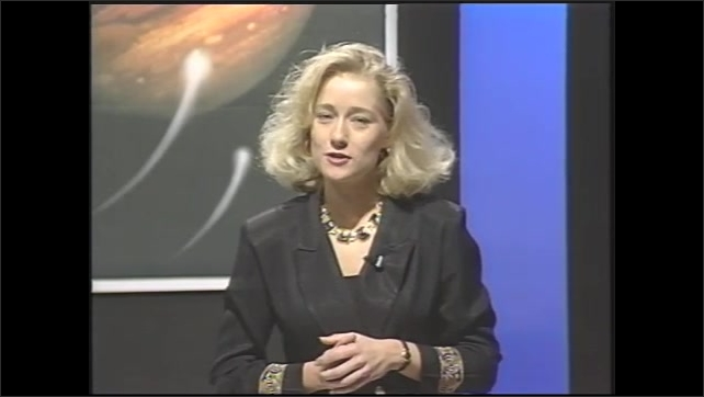 1990s: host having student from audience ask question to man about comet colliding with Jupiter
