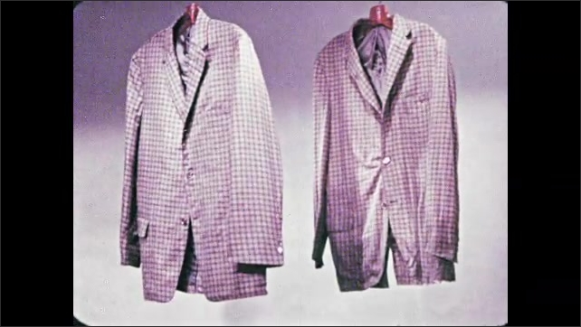 1950s: A wrinkled jacket and smooth jacket hang side by side. Hands place cotton fabric in holder and run water over it.