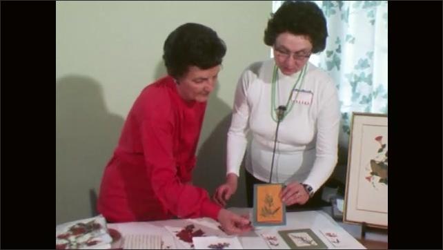 1970s: UNITED STATES: lady cleans up glue. Rag weed pressed flowers.