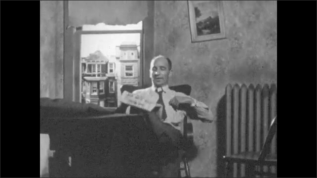 1940s: Man takes off jacket, picks up newspaper, sits in chair, puts on glasses, reads newspaper.