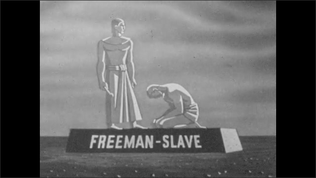1940s: Pedestal appears, statue of freeman and slave appear on pedestal, disappear, pedestal grows, statues of patrician and plebeian appear and disappear.