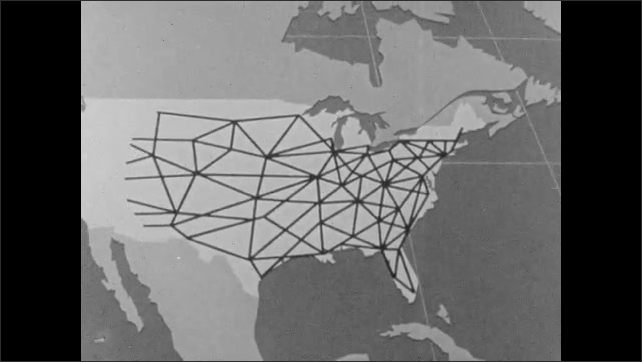 1940s: Animation of New York City, circle reaches out encloses Capitol building, lines extend out across United State of America, across globe.