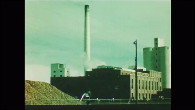 1950s: trains bringing beets to factory, massive mountain of beets outside of factory, beets unloaded by truck into flumes of water in factory