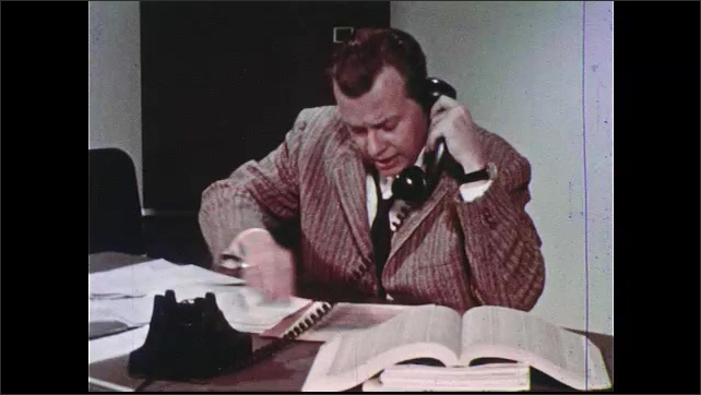 1960s: UNITED STATES: map of Springhurst community. Hand puts pin in map. Man talks on telephone. Car pulls up outside house. Field representative searches for patient