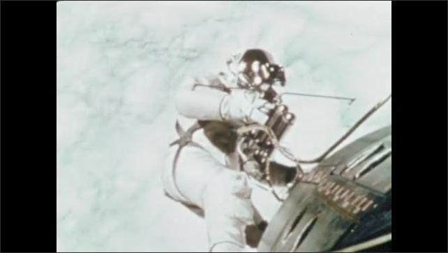 1970s: Sign for NASA. NASA building. Astronaut floats next to satellite. Men walk on the moon.