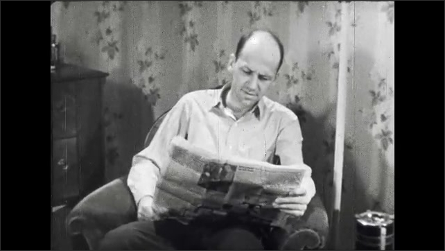 1950s: UNITED STATES: Man sits in chair, Man opens up newspaper. Man reads newspaper at home. Man arrives to vote.