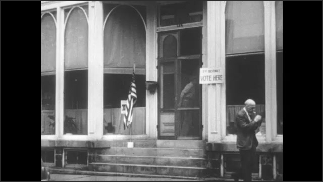 1950s: Police officer blows whistle, fade out. Exterior of voting site. Man counts ballots, hands paper to men.