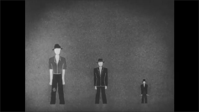 1950s: Animation of three male figures, representing the poor, the middle class, and the rich. The large figure representing the poor shrinks, and the small figure representing the middle class grows.