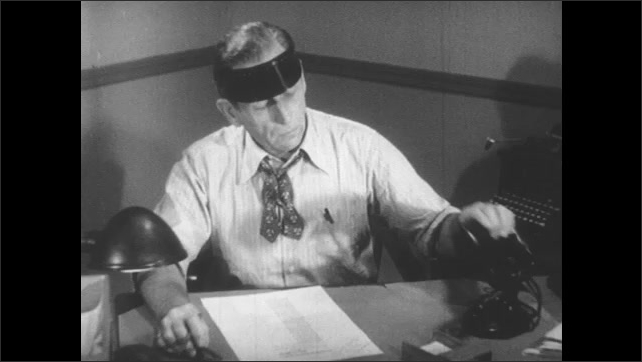 1950s: Hand pencils in new newspaper article title. Man wearing visor at desk picks up phone. Man in suit in front of window in city picks up phone. Man wearing visor speaks into phone.