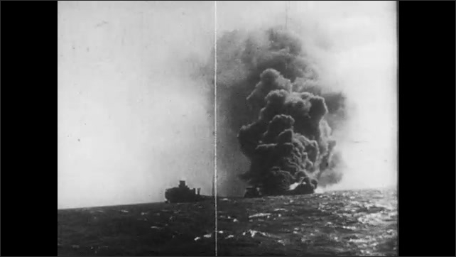 1950s: UNITED STATES: soldiers march in uniforms. Explosion at sea. Worker steals from cardboard box. Tank lifted onto boat. Ship hit at sea. Hand in box.