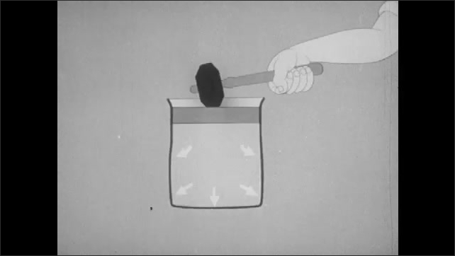 1940s: Men in lab coats apply equal force to pistons inside test tube of water from either end of tube. Glass tube breaks. Graphics: arm hammers liquid stopped inside container, arrows push outward.