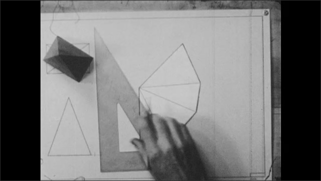 1940s: A hand rotates a pyramid that lays over a rectangle, draws line next to triangle with pencil and triangular ruler, measures the line with a compass and checks its length on the geometric shape.