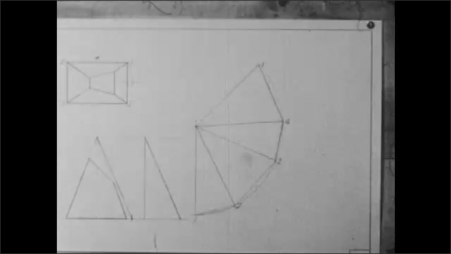 1940s: A hand takes a pyramid cut in half, matches it with a geometric shape with the same form, puts it aside, a hand marks points with a pencil and a ruler.