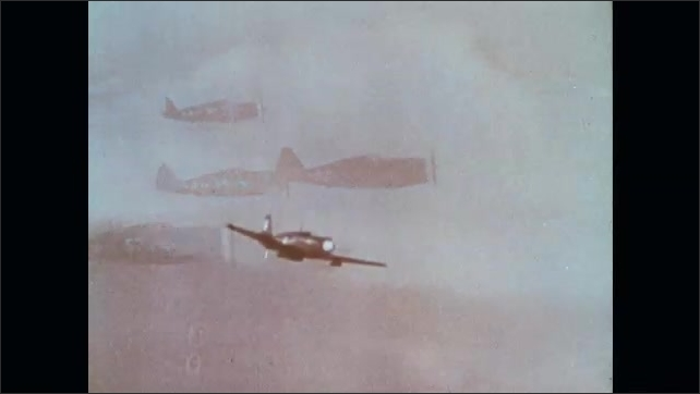 1960s: UNITED STATES: early planes in flight. Planes fly in formation. Plane flies through clouds. Jet plane in sky