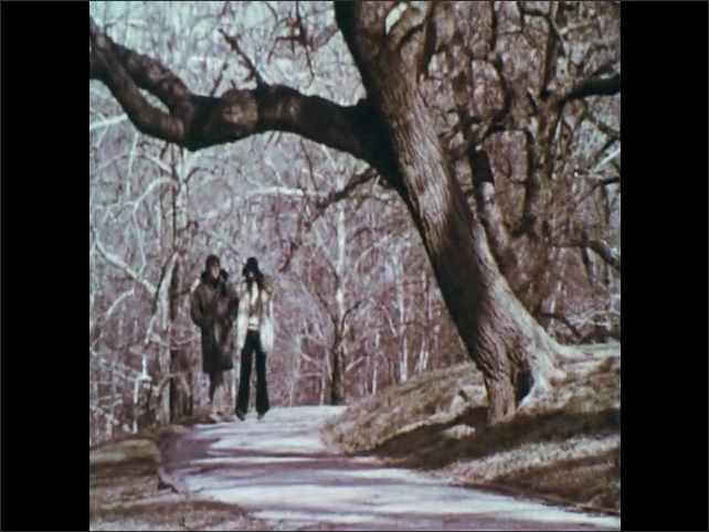 1970s: Couple walks along tree-lined path in park.