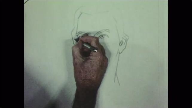 1950s: Woman sits.  Man works on portrait.