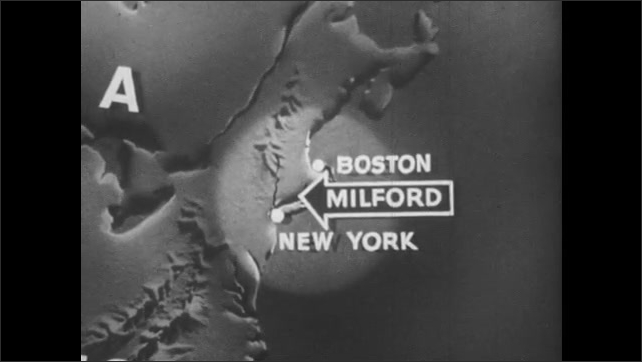 1940s: Animation of globe zooms in on United States and then New York and Boston. Arrow appears with word Milford written on it. Classical style building and statue.