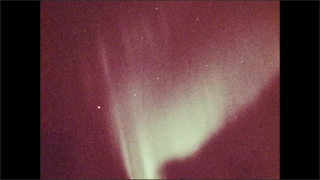 1960s: Aurora lights. Arctic research station.