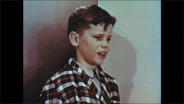 1950s: UNITED STATES: children visit boy. Boy speaks. Children leave house. Lady closes door