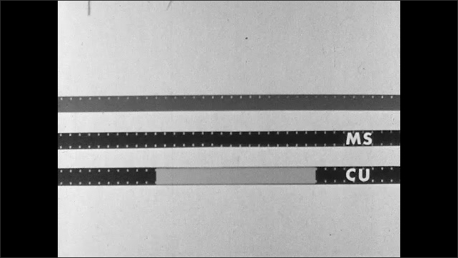 1950s: Audio tape, master shot and close up shot strips of film. Animated highlight appears on close up and master shot strips of film.