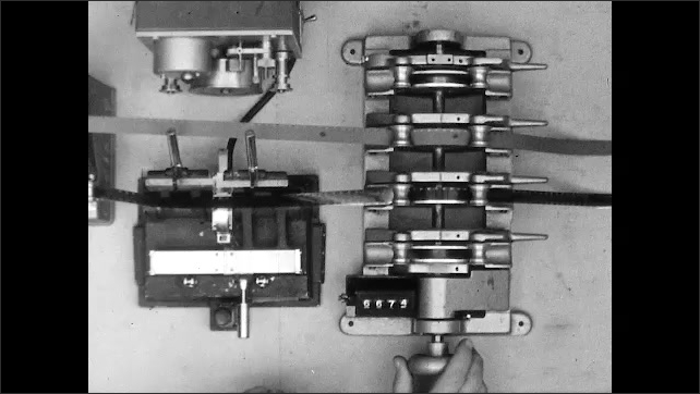 1950s: Man cuts and splices film in editor. Hands turn crank and feed edited film through gang synchronizer. Fingers point to dots on film. Hands flip paper on clipboard. Circled words on script.