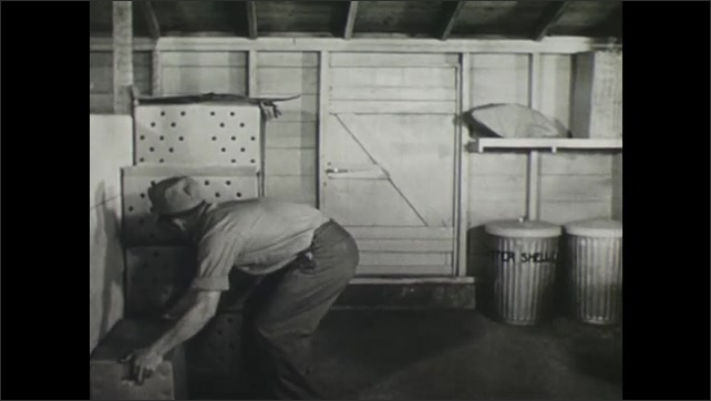 UNITED STATES 1940s : Casing Hen Eggs Ready for Storage in the Cooling Room