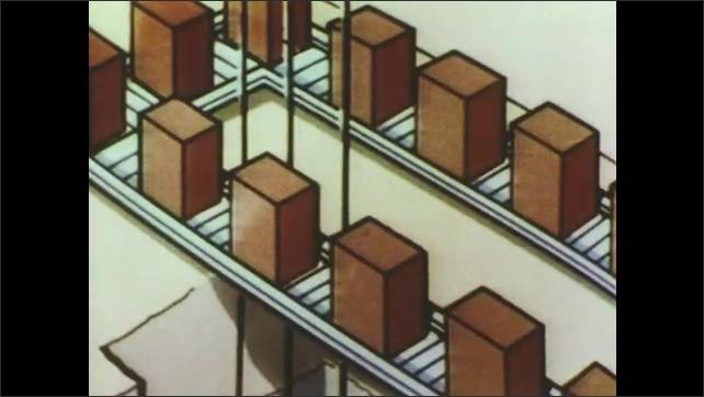 1970s: Man talks. Hands remove syringe from packaging. Man moves boxes down conveyor belt. Illustration of boxes on conveyor belt.