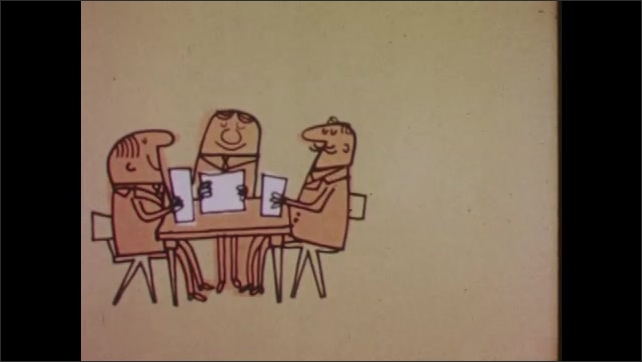 1960s: Animation. Invoices and paperwork in front of a computer. Met sit at a table. A computer appears behind it and they turn to look at it repeatedly. The computer by itself.
