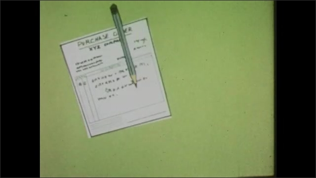 """1960s: Animation. Sheet reads """"raw materials."""" Bar on paper shrinks. Computer prints purchase order. Pencil signs. Paper shows """"overall savings 20 days."""""""