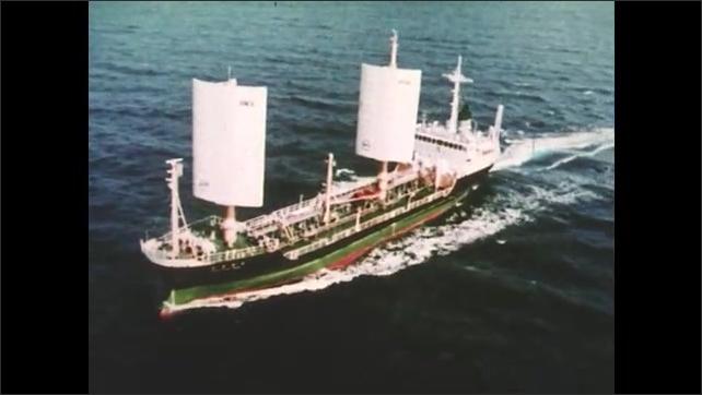 1980s: Ship moves through water.