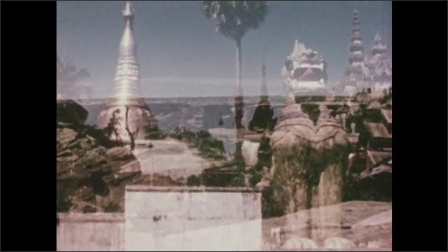 1950s: Double exposure, views of temple superimposed over views of hills. View of ocean.