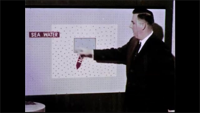 1960s: UNITED STATES: man turns board over. Drawing of water environment and salt concentration. Cell in salty environment