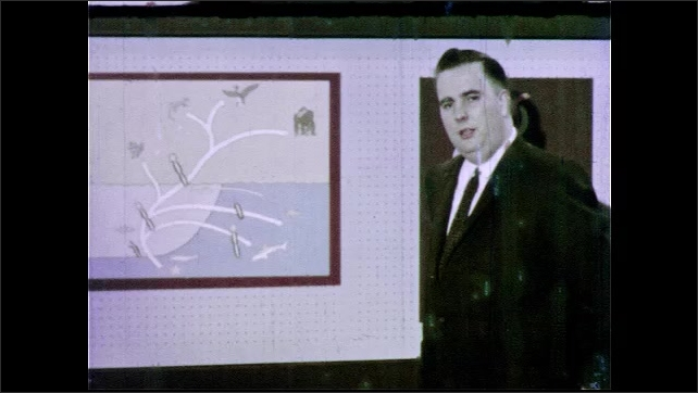 1960s: UNITED STATES: man points to drawing of marine fish on board. Man speaks to camera