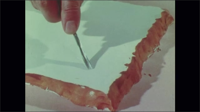 1960s: Man cuts into cardboard, peels away layer. Man carves into plaster, clay, and linoleum.