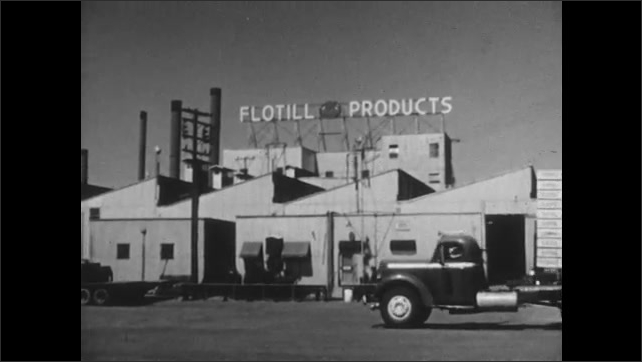 1950s: UNITED STATES: palm trees and tropical fruit plants. Flotill Products building. Vehicle drives past processing plant