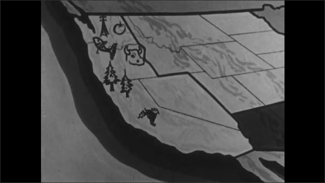 1950s: UNITED STATES: students walk on campus. Map shows production of state.