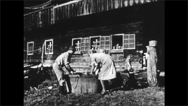 1950s: AUSTRIA: EUROPE: man carries sheep. Sheep gets a bath. Sheep gets a wash in barrel.