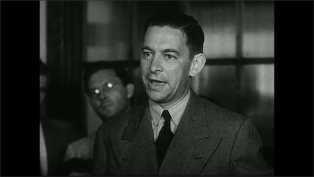 United States 1950s. Man speaks at meeting.