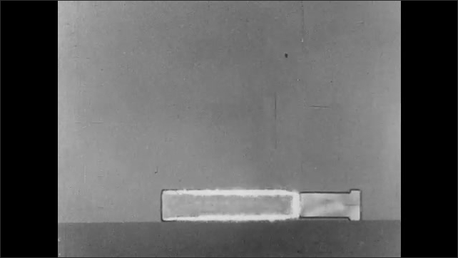 1940s: UNITED STATES: animation of fire bomb and shell. Chemical reaction in thermit reaction. Flames and oxygen.