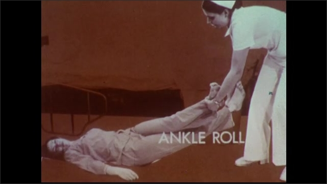 1970s: Female patient lies on floor near hospital bed. Nurse enters room. Photographic title screen for ankle roll technique. Nurse places blanket parallel to patient on floor.