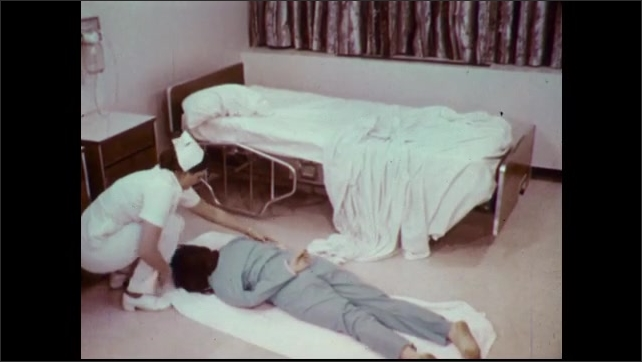1970s: Nurse performs ankle roll to roll patient onto blanket. Nurse drags patient and blanket from room. Photographic title screen for hip roll technique.