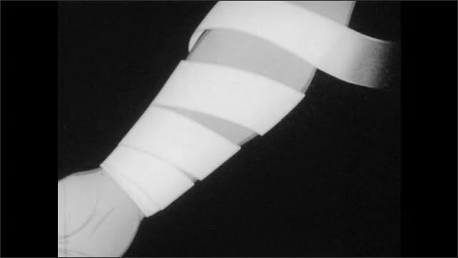 1950s: Man applies bandage to man's arm. Animation of bandage application on forearm. Man applies bandage to man's arm.