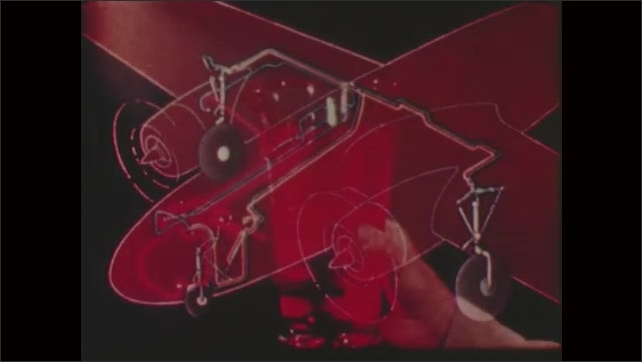 1950s: UNITED STATES: hand pulls lever. Schematic drawing of hydraulic system. Hand pours glass of liquid.