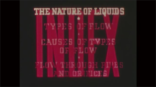 1950s: UNITED STATES: Types of flow title. Red curtain in theatre. Nature of Liquids. Flow through pipes and orifices. Words against red curtain. Liquids in shaped glass