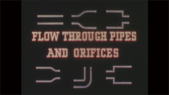 1950s: UNITED STATES: Flow through Pipes and Orifices title. Turbulent flow of liquids. Action of liquid during flow. Pump and cylinder in system