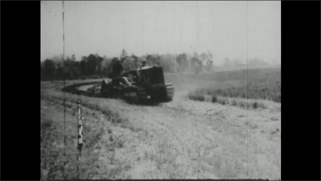 UNITED STATES 1940s : Farm Machines at Work in the Field