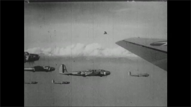 UNITED STATES 1940s : Military Planes Flying in Formation