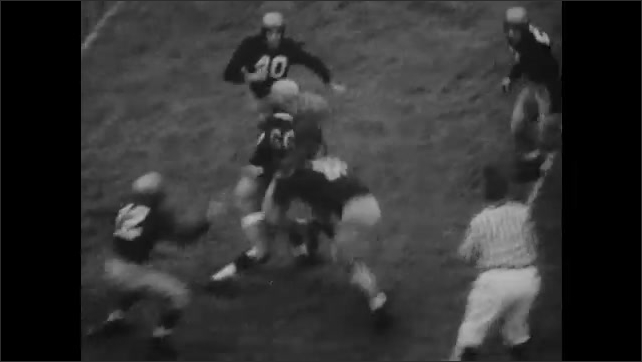 1940s: quarterback throws quick pass for touchdown, quarterback throws quick pass to receiver who dodges tackles, running back scores touchdown